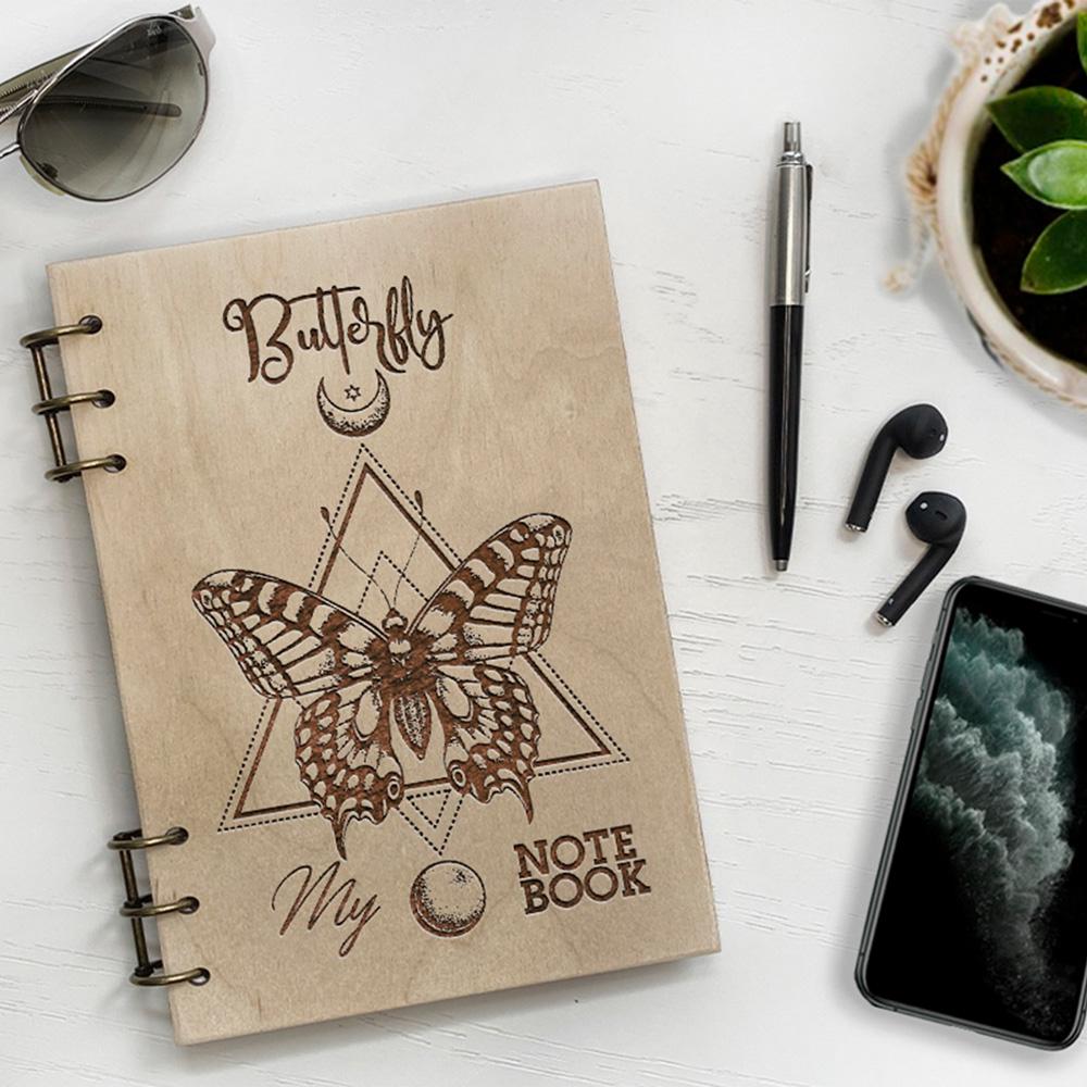 Дерев'яний блокнот з гравіюванням Butterfly