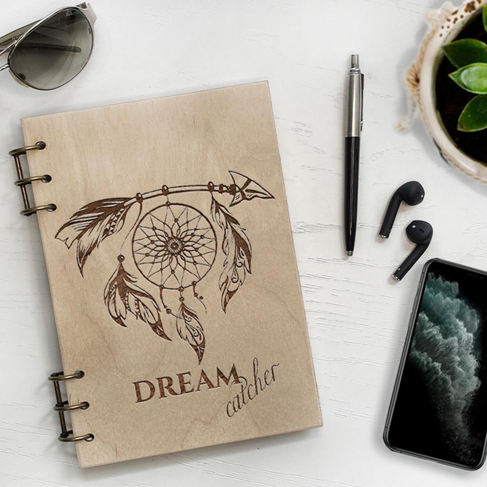 Дерев'яний блокнот з гравіюванням Dreamcatcher
