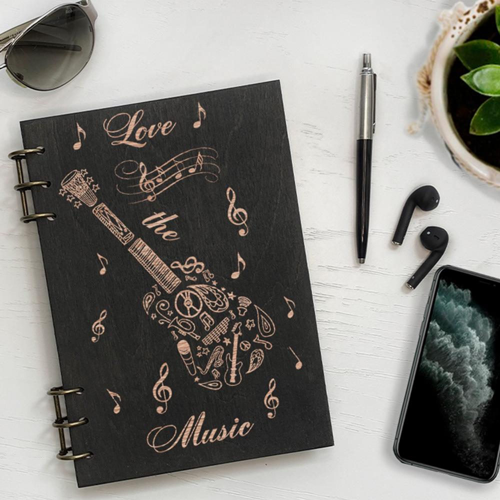Дерев'яний блокнот з гравіюванням Music