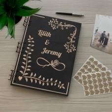 Дерев'яний фотоальбом з гравіюванням Ажур