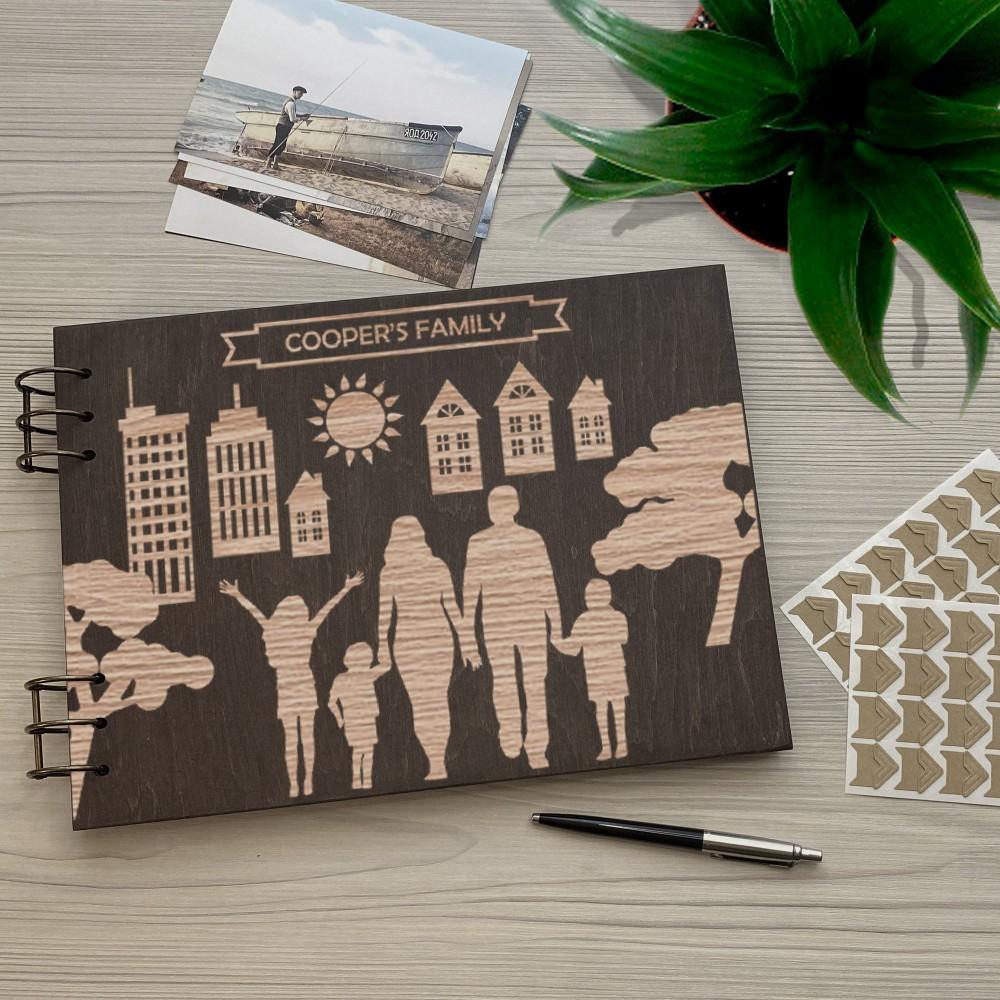 Дерев'яний фотоальбом з гравіюванням Місто