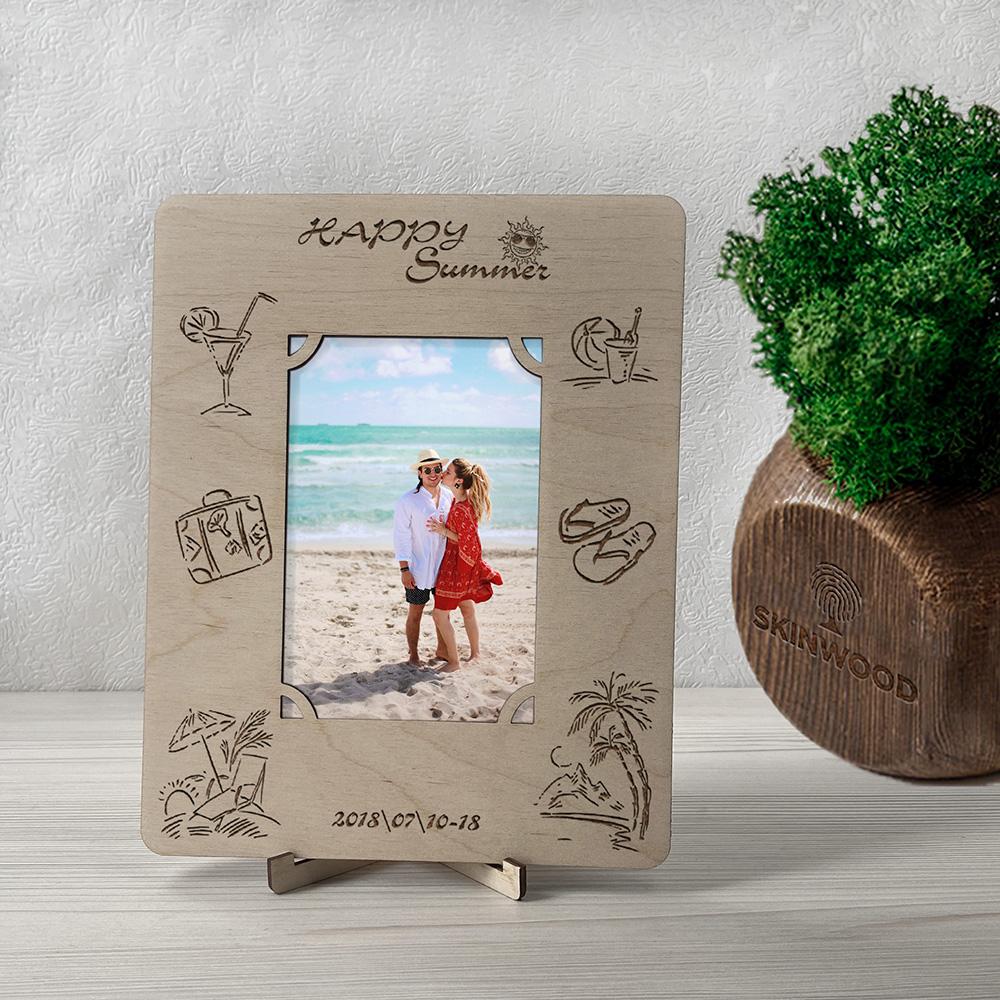 Фоторамка из дерева с гравировкой Happy Summer