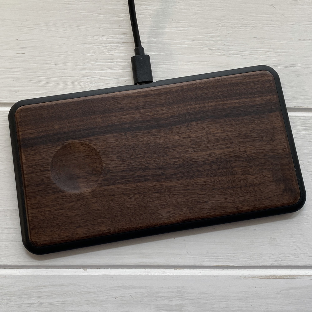 Бездротова зарядка для iPhone SkinWood Fast Charger Black 2 in 1