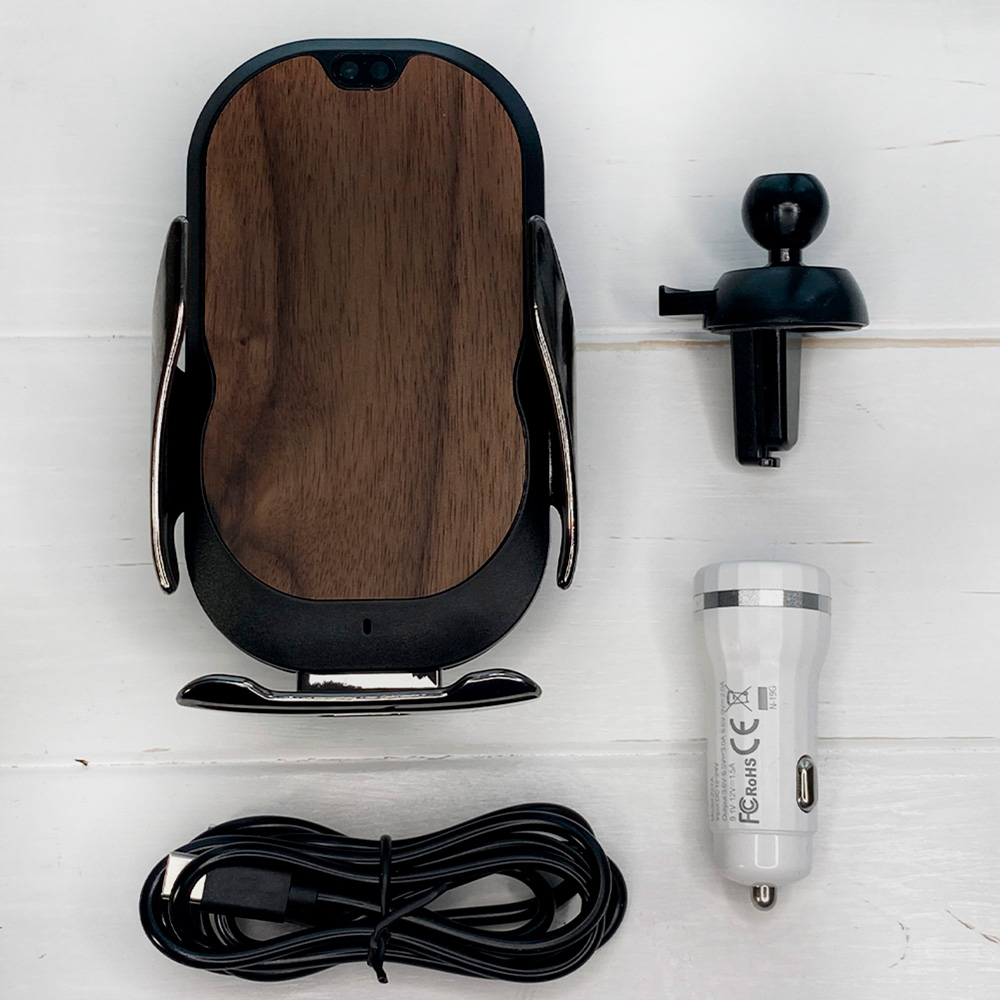 Автотримач автоматичний з бездротовою зарядкою SkinWood Car