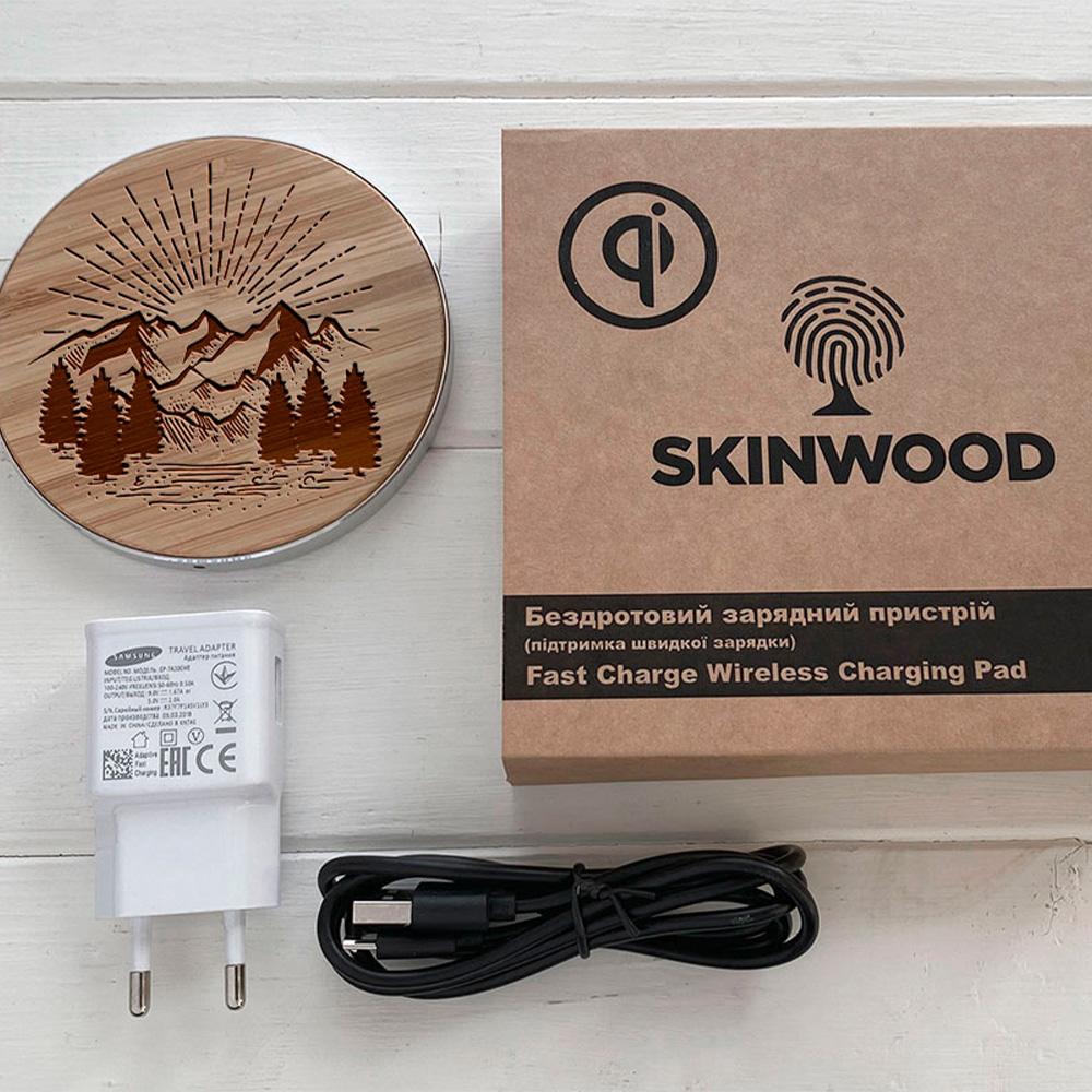 Бездротова зарядка SkinWood Fast Charger гравіювання Nature