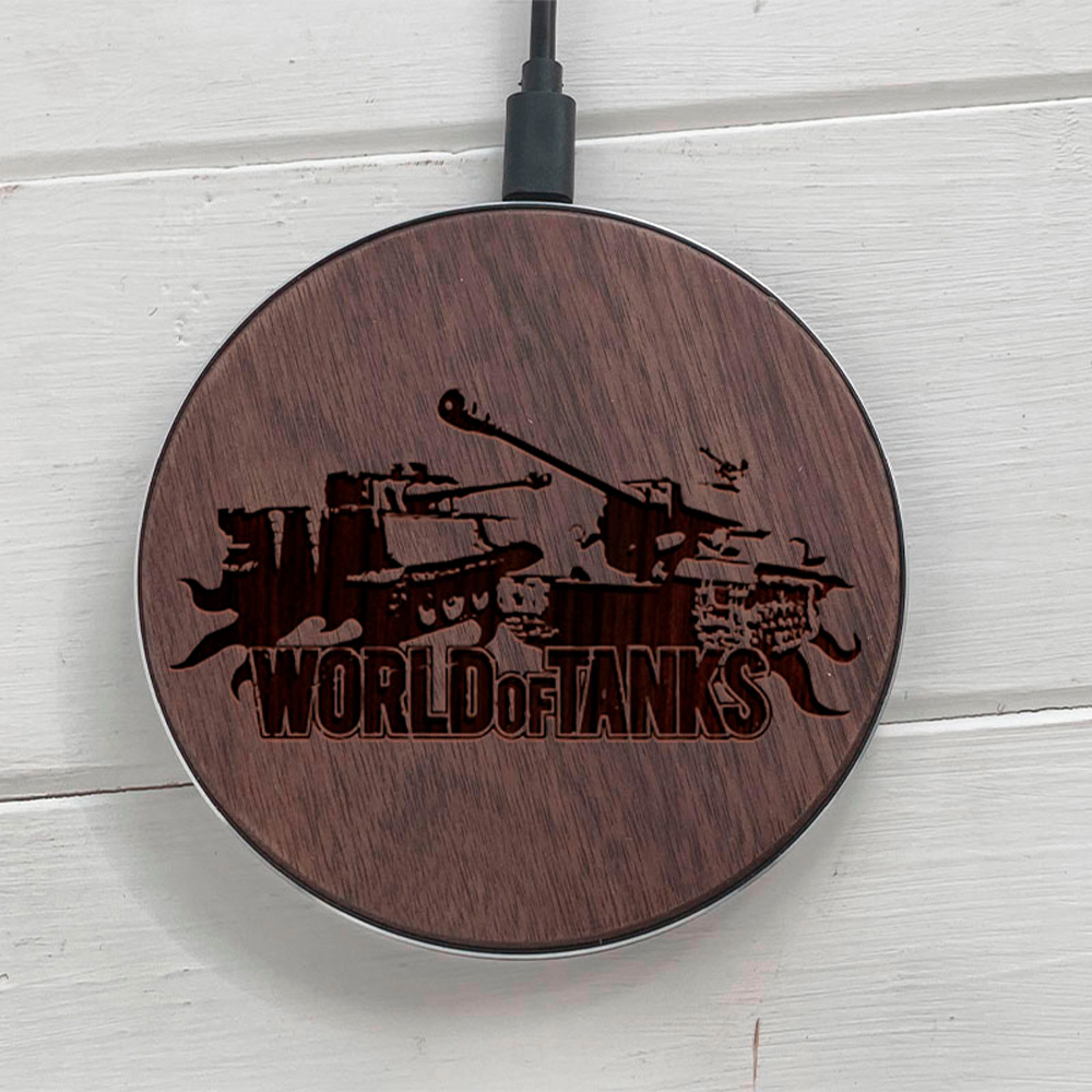 Бездротова зарядка SkinWood Fast Charger гравіювання Tanks