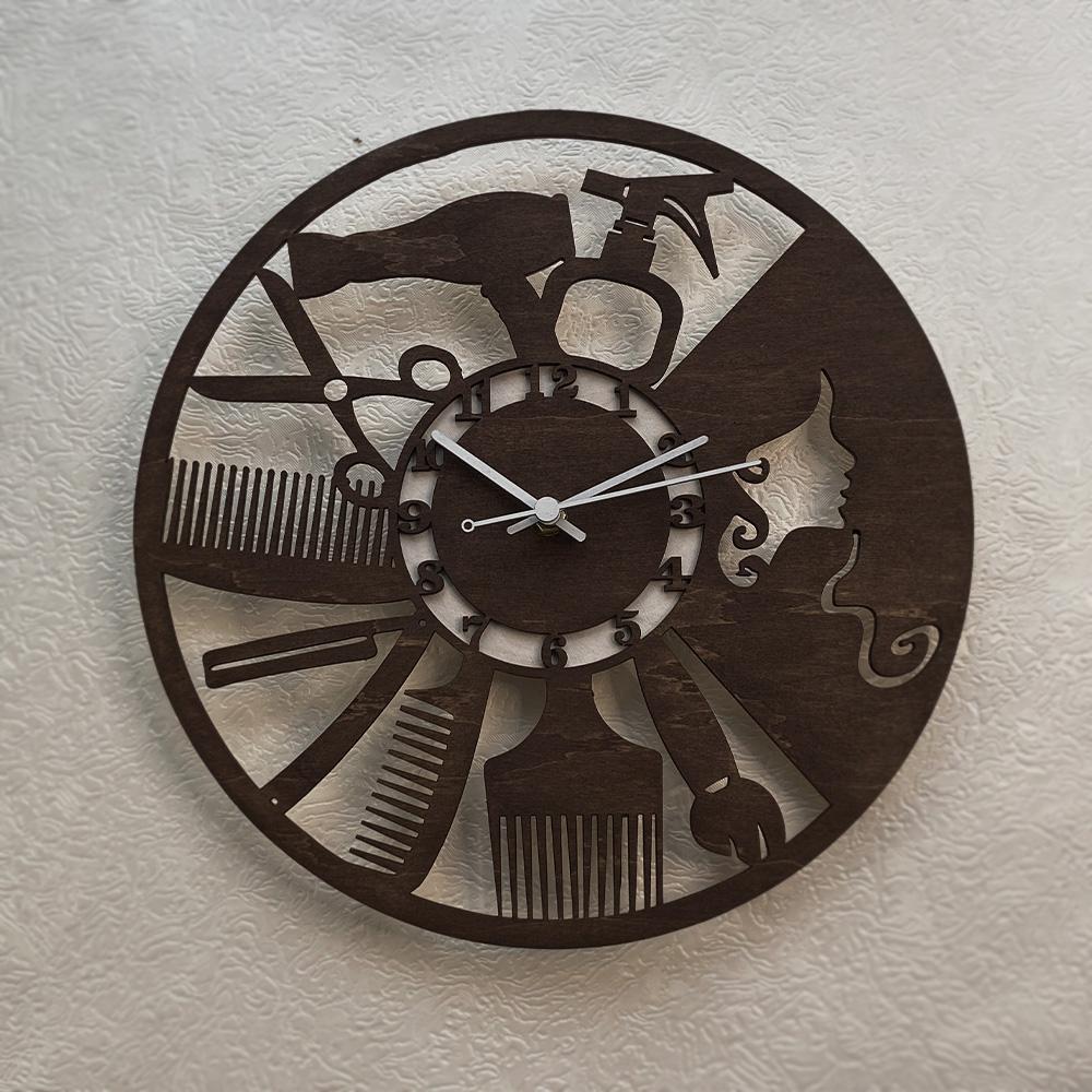 """Настінний годинник з дерева """"Салон краси"""""""