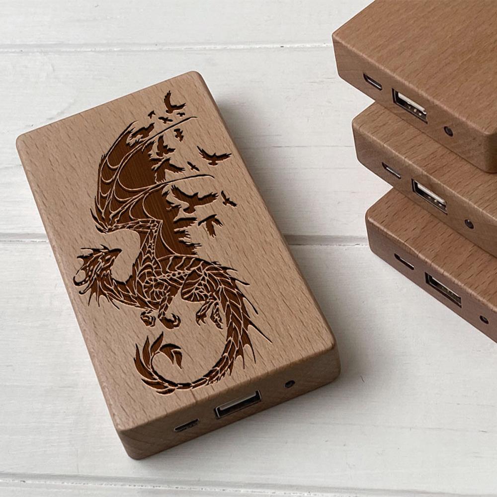 Повербанк з дерева та гравіюванням Dragon