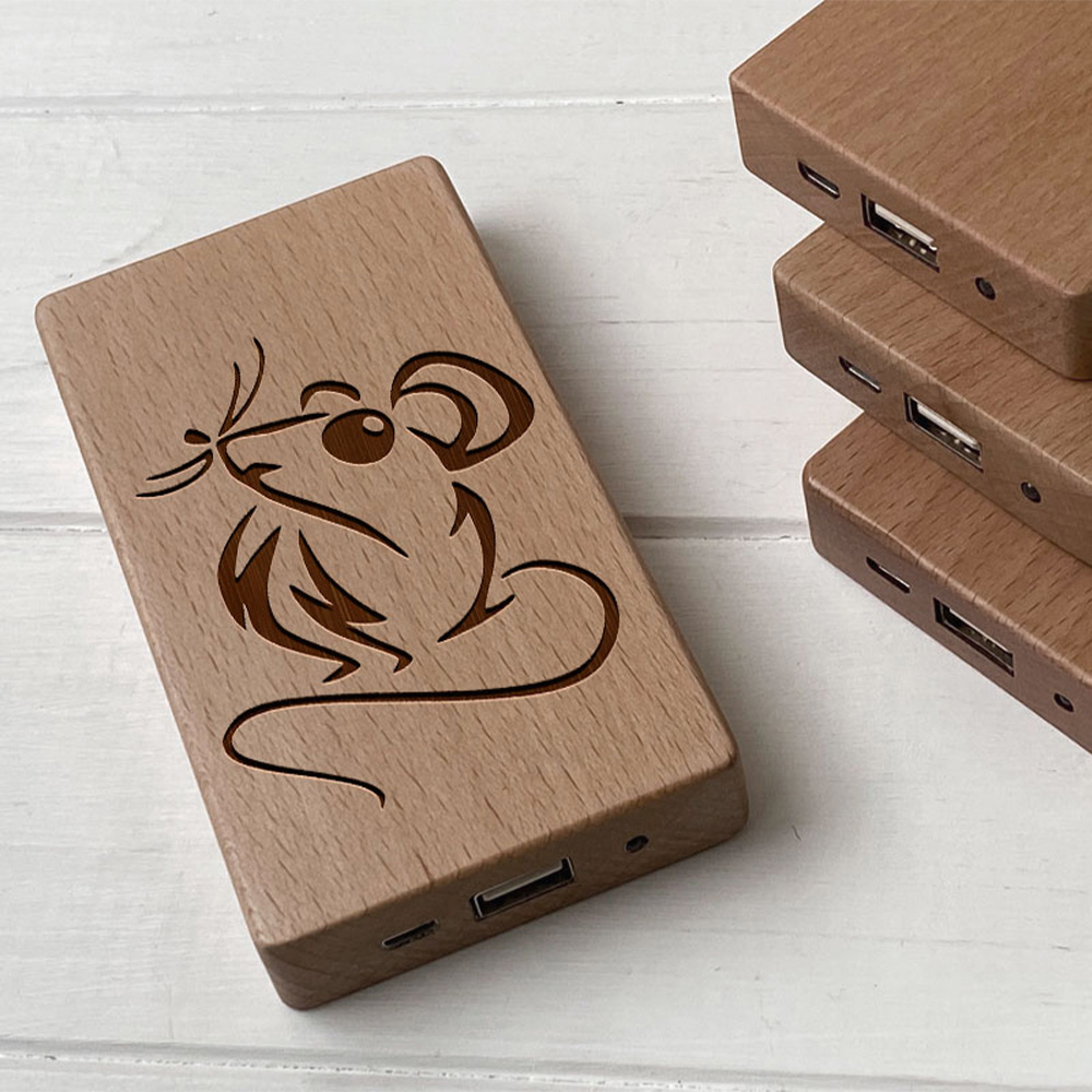Повербанк з дерева та гравіюванням Mouse